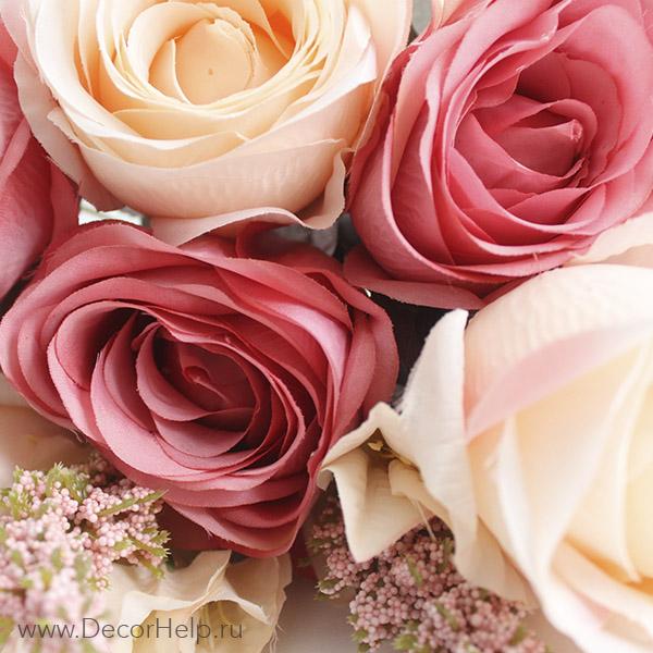 Искусственные текстильные цветы розы